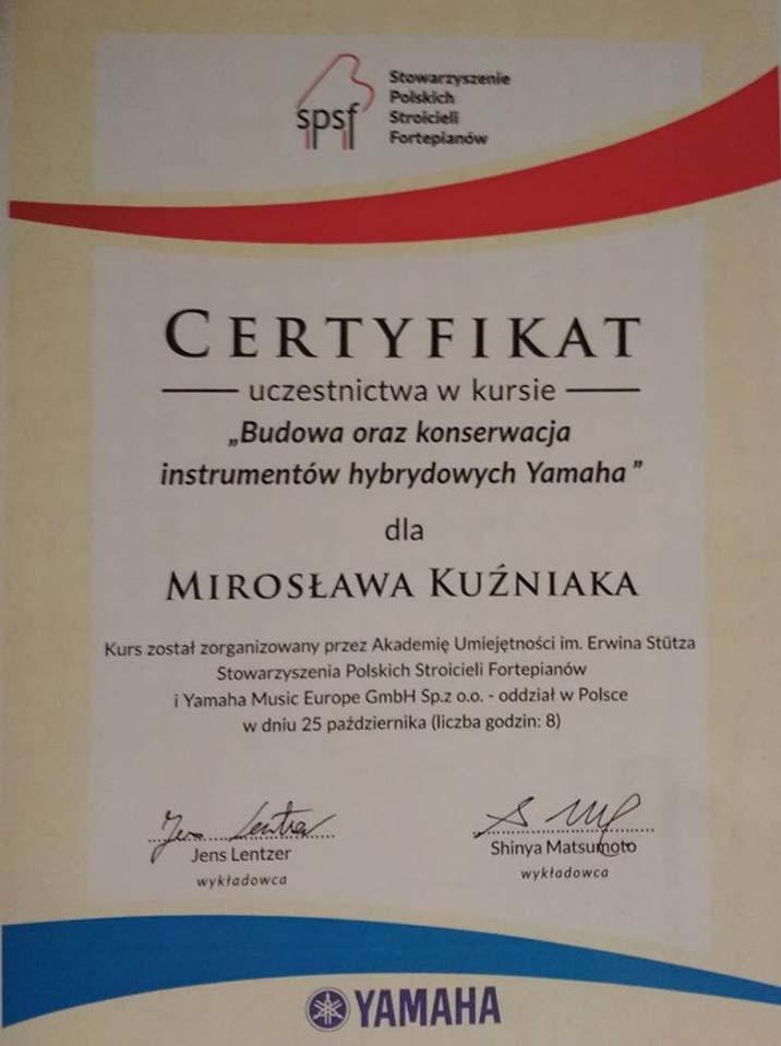 Certyfikat w strojeniu pianin i fortepianów